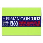 Anti Herman Cain 2012 President 999 PLAN Design Greeting Card