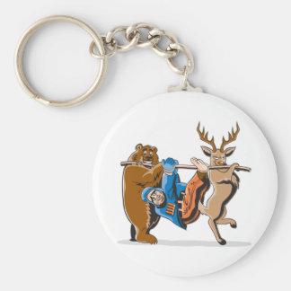Anti Hunting Animal Revenge Basic Round Button Key Ring