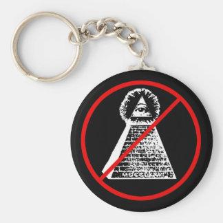 Anti Illuninati Basic Round Button Key Ring