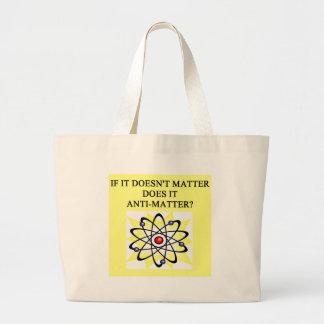 anti-matter joke large tote bag