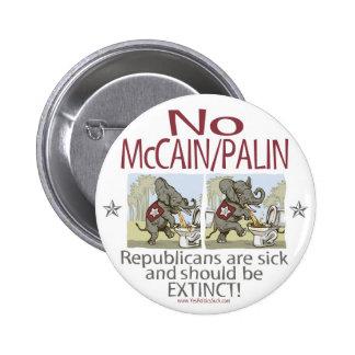 Anti McCain Palin Sick Elephants Pinback Buttons