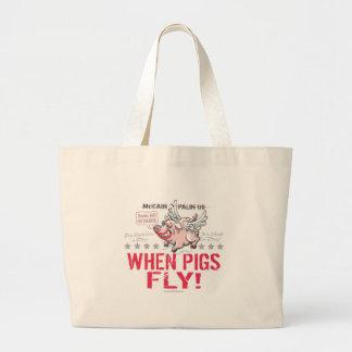 Anti McCain Palin When Pigs Fly Canvas Bag
