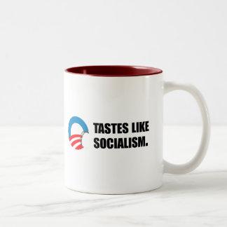 Anti-Obama Bumpersticker - Tastes like Socialism Two-Tone Coffee Mug