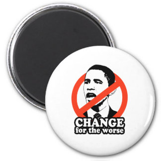 ANTI-OBAMA / CHANGE FOR THE WORSE 6 CM ROUND MAGNET