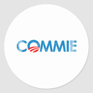 ANTI-OBAMA - COMMIE- Faded.png Round Stickers