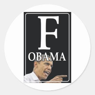 Anti-Obama F Obama Classic Round Sticker