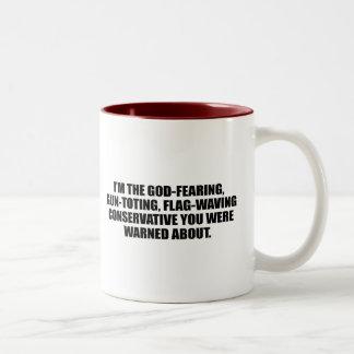 Anti-Obama - God fearing conservative Two-Tone Mug