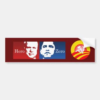 Anti-Obama - Hero vs Zero Bumper Sticker