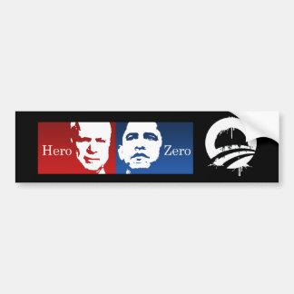 Anti-Obama - Hero vs. Zero Car Bumper Sticker