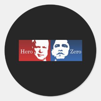 Anti-Obama - Hero vs. Zero Classic Round Sticker