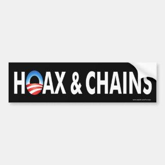"""anti Obama """"Hoax & Chains"""" sticker Car Bumper Sticker"""