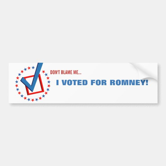Anti Obama I Voted for Romney Republican Political Bumper Sticker
