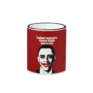 Anti-Obama - lookout taxpayers, obama thinks you'r Ringer Mug