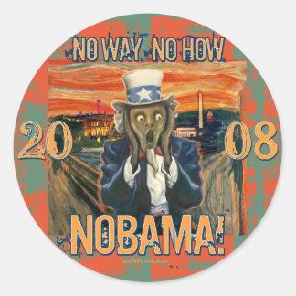 Anti Obama No Way No How Nobama Round Sticker