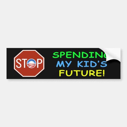 "Anti Obama ""Stop Spending Kid's Future"" Sticker"