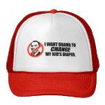 Anti-Obama T-shirt - Change my kids diaper Trucker Hat