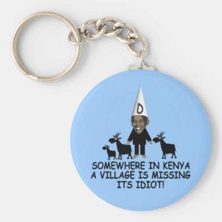 Anti Obama,village idiot Basic Round Button Key Ring