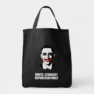 ANTI-OBAMA- White straight Republican Male Canvas Bags