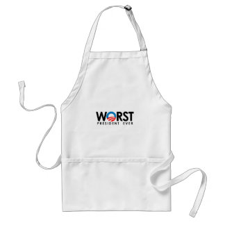 ANTI-OBAMA - WORST PRESIDENT EVER BLACK-.png Adult Apron