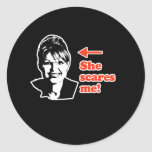 ANTI-PALIN / She scares me Classic Round Sticker