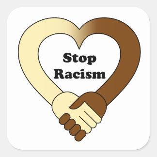 Anti racism handshake  logo square sticker