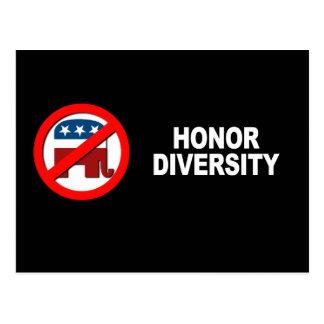 Anti-Republican - Honor Diversity Postcards