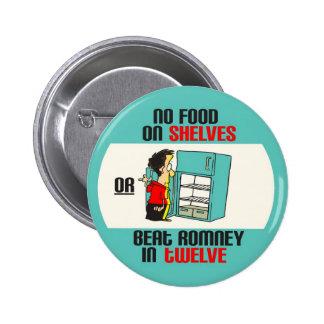Anti-Romney: No Food On Shelves 6 Cm Round Badge