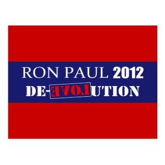 Anti Ron Paul 2012 President De-Evolution Design Postcard
