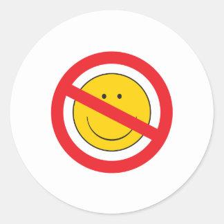 Anti-Smiley SMiley Face Round Sticker