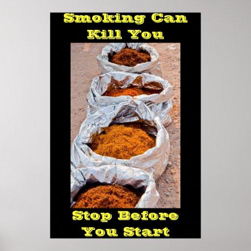 anti smoking posters yellow words