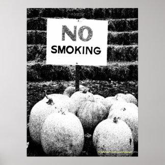 Anti-Smoking Pumpkins - B W Sketch Print