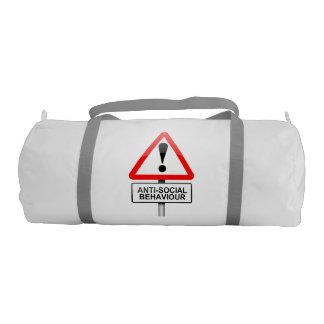 Anti-social warning. gym duffel bag