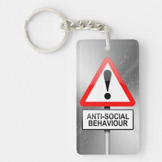 Anti-social warning. key ring