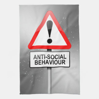Anti-social warning. tea towel