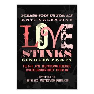 Anti-Valentine Grungy Love Stinks Singles Party 13 Cm X 18 Cm Invitation Card