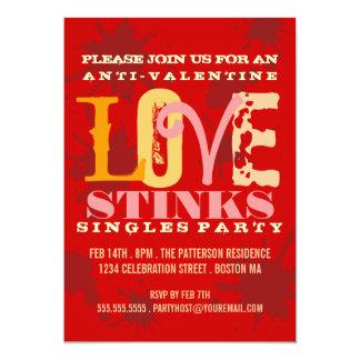 Anti-Valentine Grungy Love Stinks Singles Party 5x7 Paper Invitation Card