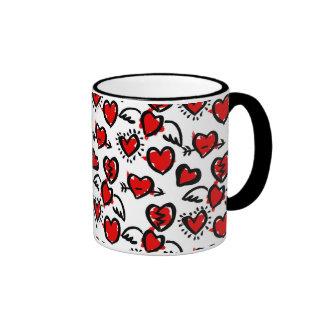 Anti-Valentine Sketch Pattern Ringer Mug