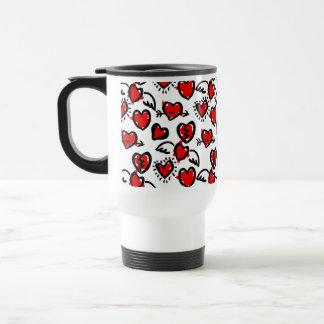 Anti-Valentine Sketch Pattern Stainless Steel Travel Mug