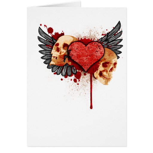 Anti-Valentine Skulls with Wings Greeting Cards