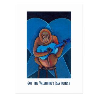 Anti Valentines party invitations fun art blues Postcard