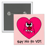 Anti-VD: I hate Valentines Day Angry Heart Face 15 Cm Square Badge