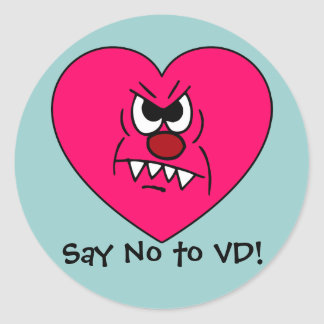 Anti-VD: I hate Valentines Day Angry Heart Face Classic Round Sticker