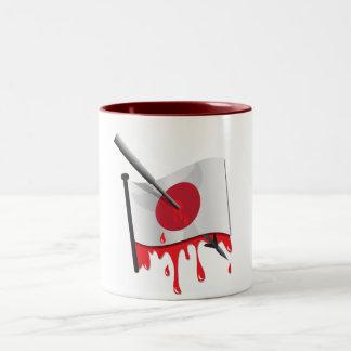anti-whaling statement harpoon flag Two-Tone coffee mug