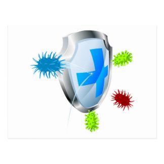 Antibacterial or antiviral concept postcard