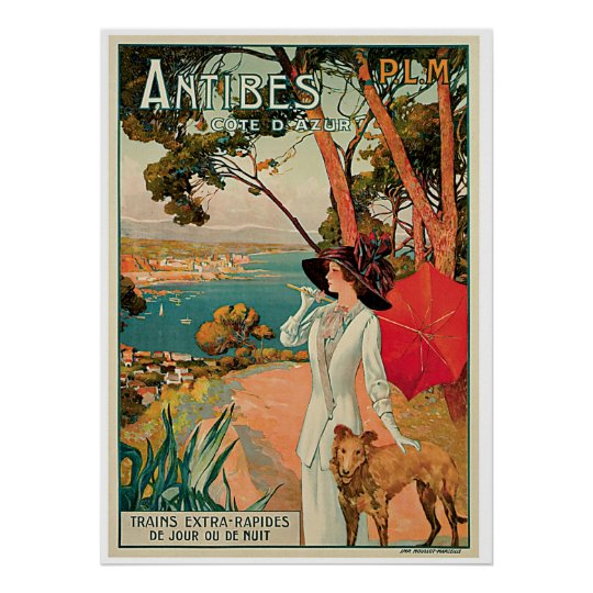 Antibes France Vintage Travel Advertisement Poster