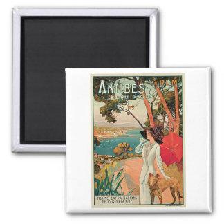 Antibes France Vintage Travel Advertisement Square Magnet