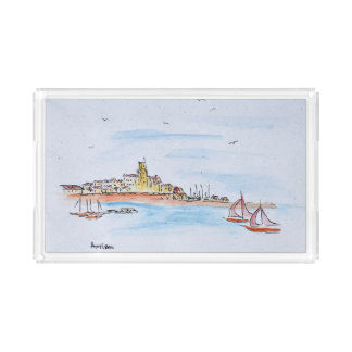 Antibes on the Mediterranean, France Acrylic Tray