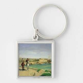 Antibes, the Horse Ride, 1868 Silver-Colored Square Key Ring