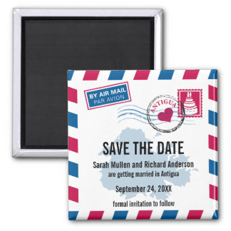Antigua Air Mail Wedding Save the Date Square Magnet