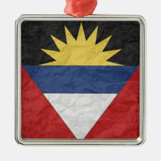 Antigua and Barbuda Square Metal Christmas Ornament